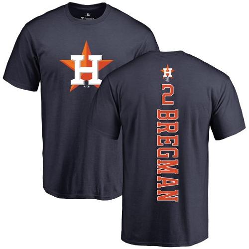 MLB Nike Houston Astros #2 Alex Bregman Navy Blue Backer T-Shirt