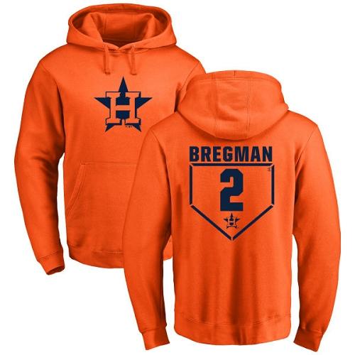 MLB Nike Houston Astros #2 Alex Bregman Orange RBI Pullover Hoodie