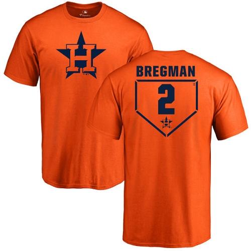 MLB Nike Houston Astros #2 Alex Bregman Orange RBI T-Shirt