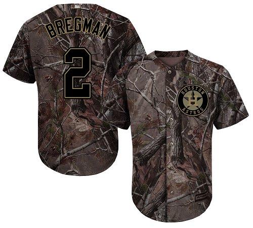 Men's Majestic Houston Astros #2 Alex Bregman Authentic Camo Realtree Collection Flex Base MLB Jersey