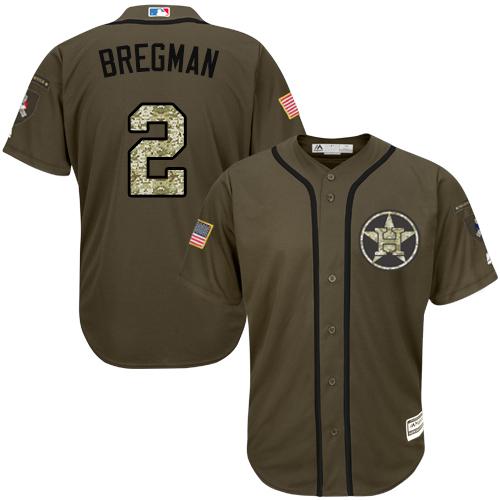Men's Majestic Houston Astros #2 Alex Bregman Authentic Green Salute to Service MLB Jersey