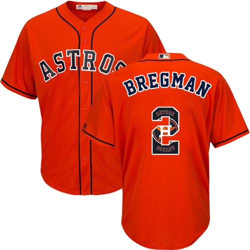Men's Majestic Houston Astros #2 Alex Bregman Authentic Orange Team Logo Fashion Cool Base MLB Jersey