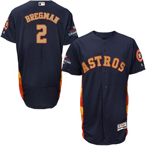 Men's Majestic Houston Astros #2 Alex Bregman Navy Blue Alternate 2018 Gold Program Flex Base Authentic Collection MLB Jersey