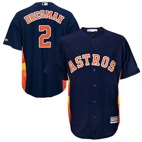 Men's Majestic Houston Astros #2 Alex Bregman Replica Navy Blue Alternate Cool Base MLB Jersey