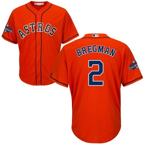 Men's Majestic Houston Astros #2 Alex Bregman Replica Orange Alternate 2017 World Series Champions Cool Base MLB Jersey