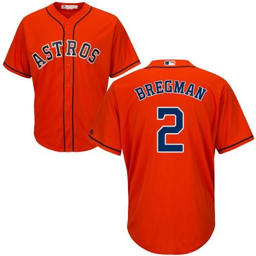 Men's Majestic Houston Astros #2 Alex Bregman Replica Orange Alternate Cool Base MLB Jersey