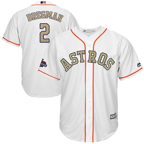 Men's Majestic Houston Astros #2 Alex Bregman Replica White 2018 Gold Program Cool Base MLB Jersey