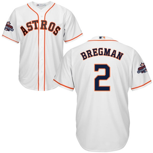 Men's Majestic Houston Astros #2 Alex Bregman Replica White Home 2017 World Series Champions Cool Base MLB Jersey