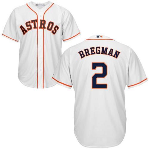 Men's Majestic Houston Astros #2 Alex Bregman Replica White Home Cool Base MLB Jersey