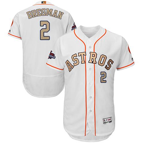 Men's Majestic Houston Astros #2 Alex Bregman White 2018 Gold Program Flex Base Authentic Collection MLB Jersey