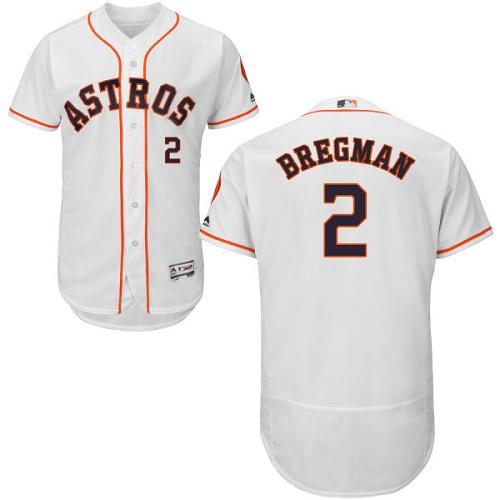 Men's Majestic Houston Astros #2 Alex Bregman White Flexbase Authentic Collection MLB Jersey
