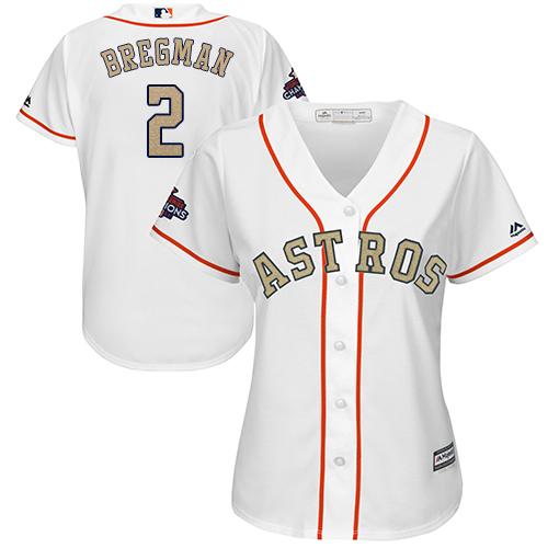 Women's Majestic Houston Astros #2 Alex Bregman Authentic White 2018 Gold Program Cool Base MLB Jersey