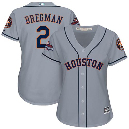 Women's Majestic Houston Astros #2 Alex Bregman Replica Grey Road 2017 World Series Champions Cool Base MLB Jersey