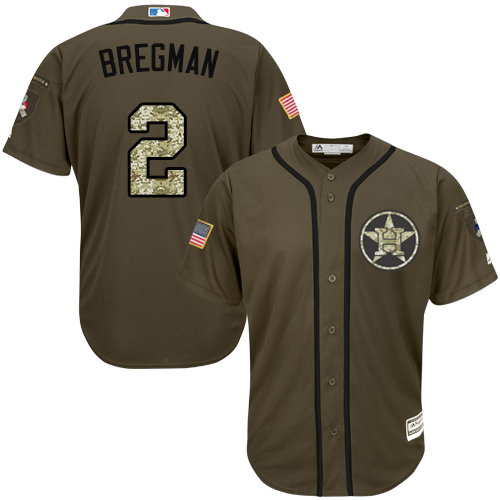 Youth Majestic Houston Astros #2 Alex Bregman Authentic Green Salute to Service MLB Jersey
