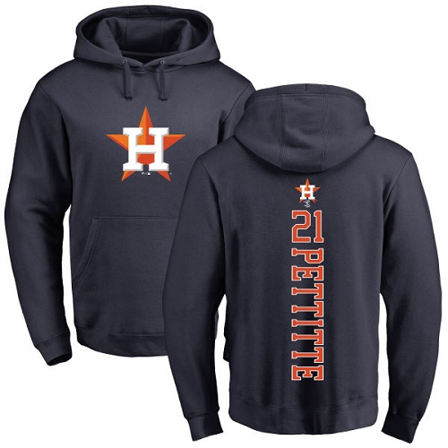 MLB Nike Houston Astros #21 Andy Pettitte Navy Blue Backer Pullover Hoodie