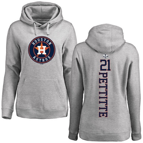 MLB Women's Nike Houston Astros #21 Andy Pettitte Ash Backer Pullover Hoodie