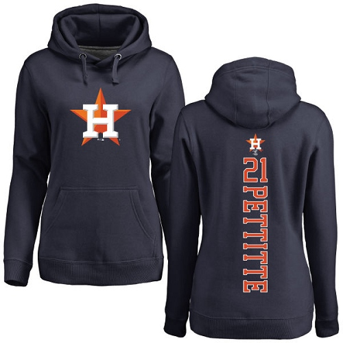 MLB Women's Nike Houston Astros #21 Andy Pettitte Navy Blue Backer Pullover Hoodie