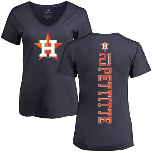 MLB Women's Nike Houston Astros #21 Andy Pettitte Navy Blue Backer T-Shirt
