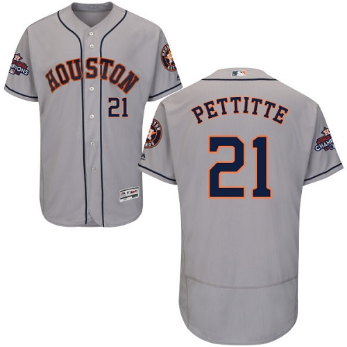 Men's Majestic Houston Astros #21 Andy Pettitte Authentic Grey Road 2017 World Series Champions Flex Base MLB Jersey