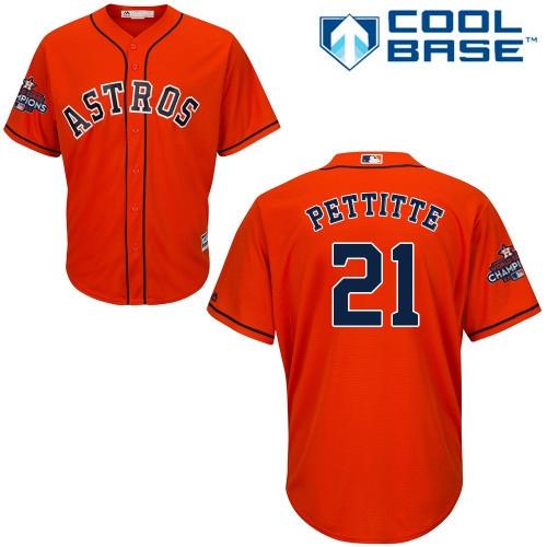 Men's Majestic Houston Astros #21 Andy Pettitte Replica Orange Alternate 2017 World Series Champions Cool Base MLB Jersey