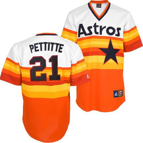 Men's Mitchell and Ness Houston Astros #21 Andy Pettitte Replica White/Orange Throwback MLB Jersey