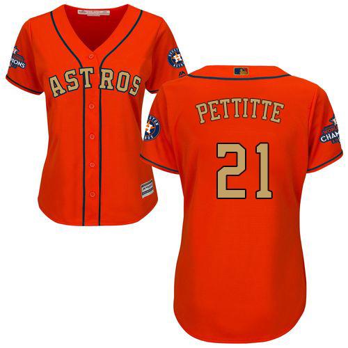 Women's Majestic Houston Astros #21 Andy Pettitte Authentic Orange Alternate 2018 Gold Program Cool Base MLB Jersey
