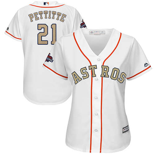 Women's Majestic Houston Astros #21 Andy Pettitte Authentic White 2018 Gold Program Cool Base MLB Jersey