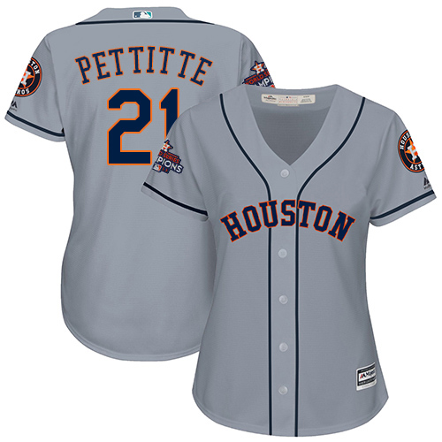 Women's Majestic Houston Astros #21 Andy Pettitte Replica Grey Road 2017 World Series Champions Cool Base MLB Jersey
