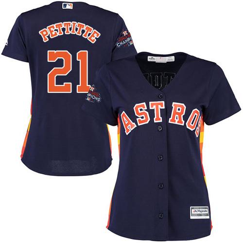 Women's Majestic Houston Astros #21 Andy Pettitte Replica Navy Blue Alternate 2017 World Series Champions Cool Base MLB Jersey