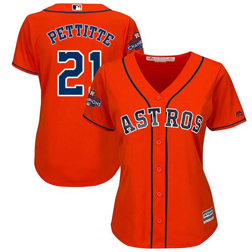 Women's Majestic Houston Astros #21 Andy Pettitte Replica Orange Alternate 2017 World Series Champions Cool Base MLB Jersey