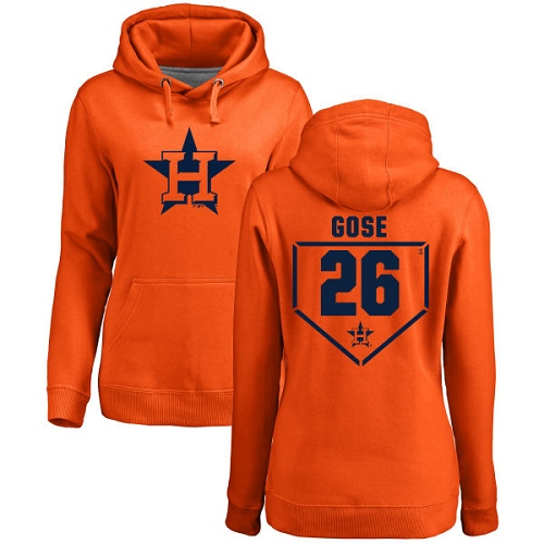 MLB Women's Nike Houston Astros #26 Anthony Gose Orange RBI Pullover Hoodie