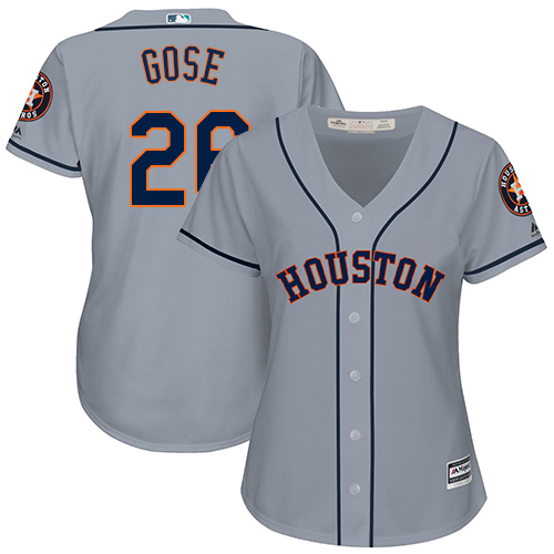 Women's Majestic Houston Astros #26 Anthony Gose Authentic Grey Road Cool Base MLB Jersey