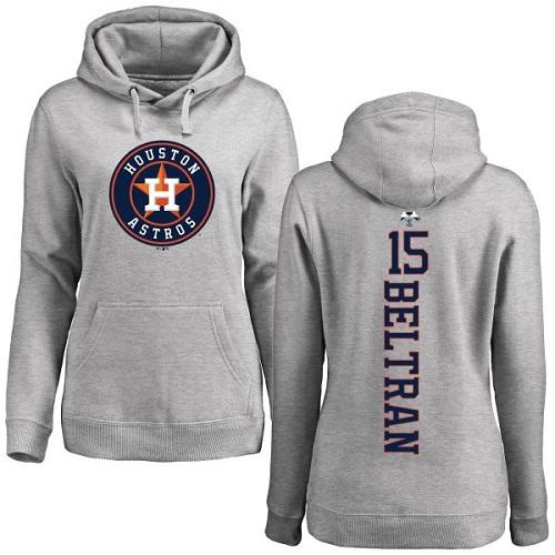 MLB Women's Nike Houston Astros #15 Carlos Beltran Ash Backer Pullover Hoodie