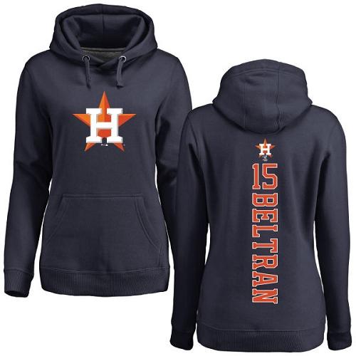 MLB Women's Nike Houston Astros #15 Carlos Beltran Navy Blue Backer Pullover Hoodie