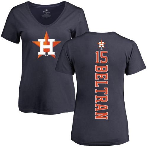MLB Women's Nike Houston Astros #15 Carlos Beltran Navy Blue Backer T-Shirt