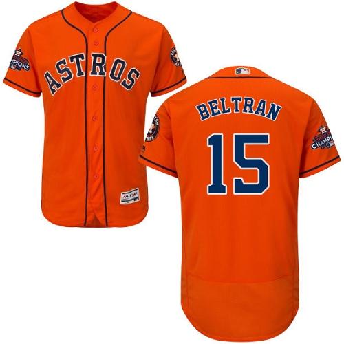 Men's Majestic Houston Astros #15 Carlos Beltran Authentic Orange Alternate 2017 World Series Champions Flex Base MLB Jersey