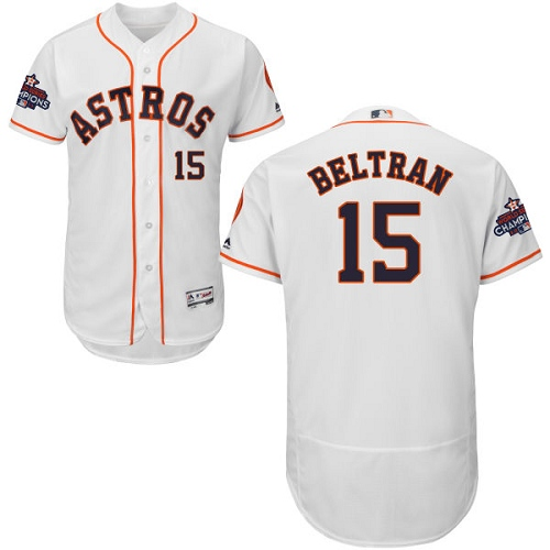 Men's Majestic Houston Astros #15 Carlos Beltran Authentic White Home 2017 World Series Champions Flex Base MLB Jersey