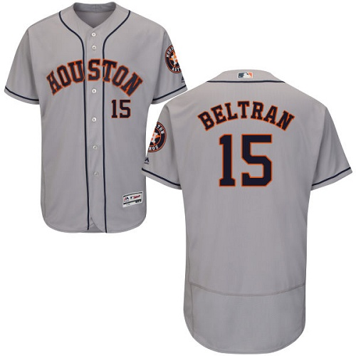Men's Majestic Houston Astros #15 Carlos Beltran Grey Flexbase Authentic Collection MLB Jersey