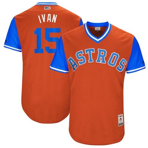 Men's Majestic Houston Astros #15 Carlos Beltran