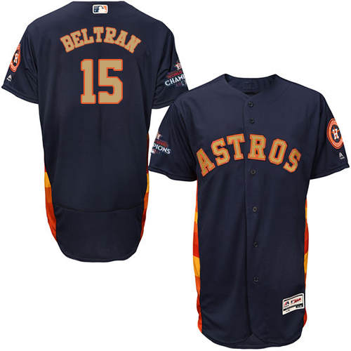 Men's Majestic Houston Astros #15 Carlos Beltran Navy Blue Alternate 2018 Gold Program Flex Base Authentic Collection MLB Jersey