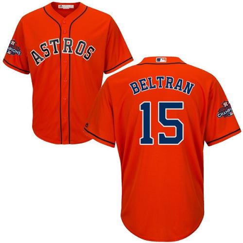 Men's Majestic Houston Astros #15 Carlos Beltran Replica Orange Alternate 2017 World Series Champions Cool Base MLB Jersey