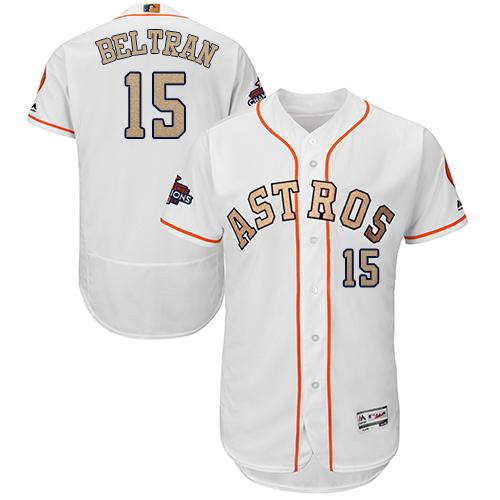 Men's Majestic Houston Astros #15 Carlos Beltran White 2018 Gold Program Flex Base Authentic Collection MLB Jersey