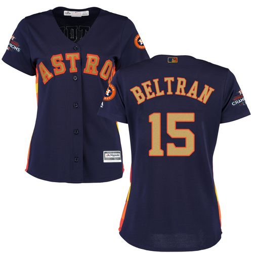 Women's Majestic Houston Astros #15 Carlos Beltran Authentic Navy Blue Alternate 2018 Gold Program Cool Base MLB Jersey