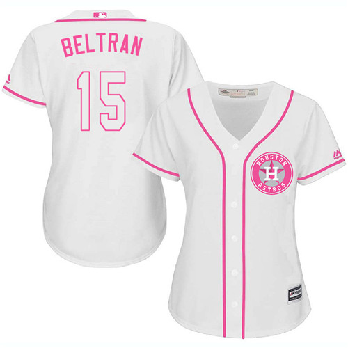 Women's Majestic Houston Astros #15 Carlos Beltran Authentic White Fashion Cool Base MLB Jersey