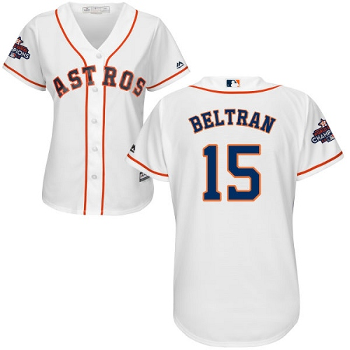 Women's Majestic Houston Astros #15 Carlos Beltran Authentic White Home 2017 World Series Champions Cool Base MLB Jersey