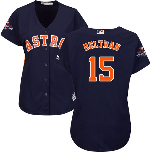 Women's Majestic Houston Astros #15 Carlos Beltran Replica Navy Blue Alternate 2017 World Series Champions Cool Base MLB Jersey