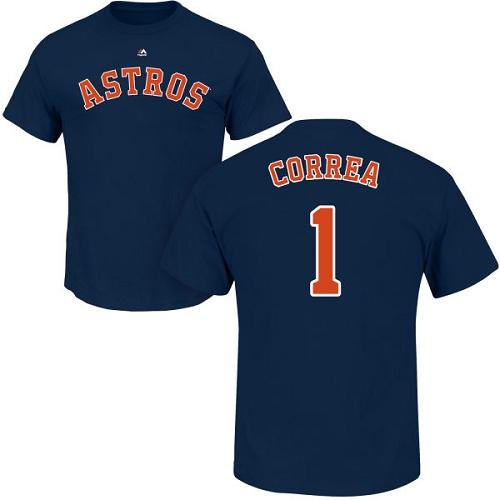 MLB Nike Houston Astros #1 Carlos Correa Navy Blue Name & Number T-Shirt
