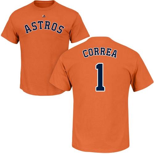 MLB Nike Houston Astros #1 Carlos Correa Orange Name & Number T-Shirt