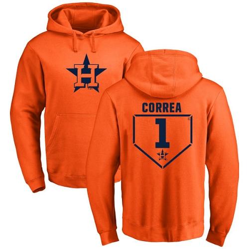 MLB Nike Houston Astros #1 Carlos Correa Orange RBI Pullover Hoodie