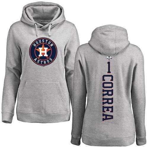 MLB Women's Nike Houston Astros #1 Carlos Correa Ash Backer Pullover Hoodie